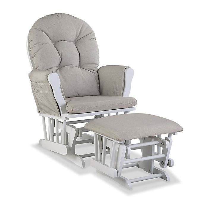 Alternate image 1 for Storkcraft™ Hoop Glider and Ottoman Set in White/Taupe Swirl