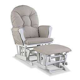 Storkcraft™ Hoop Glider and Ottoman Set in White/Taupe Swirl