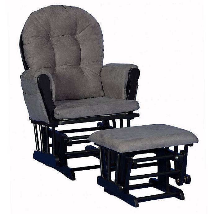 Alternate image 1 for Storkcraft™ Hoop Glider and Ottoman Set in Black/Grey
