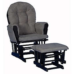 Storkcraft™ Hoop Glider and Ottoman Set in Black/Grey