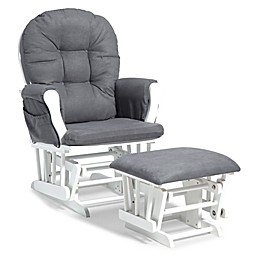 Storkcraft™ Hoop Glider and Ottoman in White/Grey