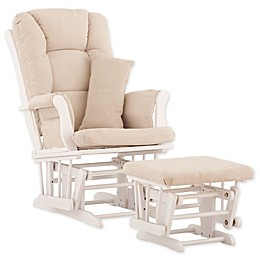 Storkcraft Tuscany Glider and Ottoman in White/Beige