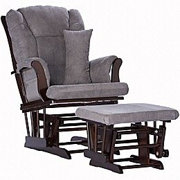 Storkcraft Tuscany Glider and Ottoman in Espresso/Grey