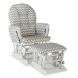 Storkcraft™ Hoop Glider and Ottoman in White/Grey Chevron