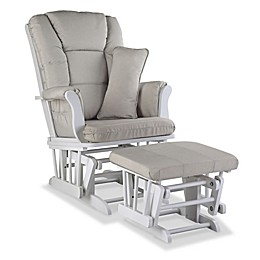 Storkcraft Tuscany Glider and Ottoman in White/Taupe Swirl