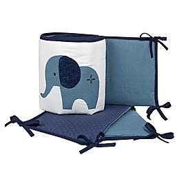Lambs & Ivy® Indigo Elephant 4-Piece Crib Bumper Set in Blue/White