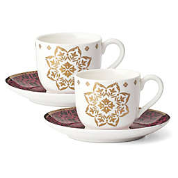 Lenox® Global Tapestry Garnet™ 4-Piece Espresso Cup and Saucer Set
