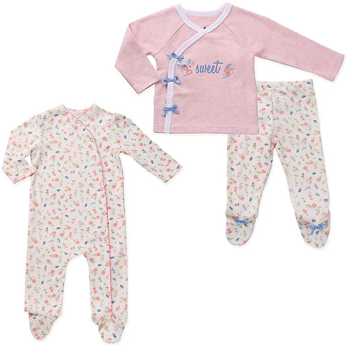 Alternate image 1 for asher and olivia® 3-Piece Twins Footed Pajama Set