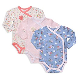 asher and olivia® 3-Pack Kimono Long Sleeve Bodysuits in Pink