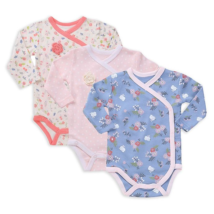 Alternate image 1 for asher and olivia® 3-Pack Kimono Long Sleeve Bodysuits in Pink