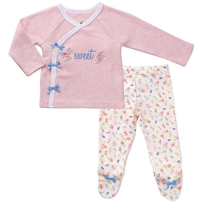 Alternate image 1 for asher and olivia® Preemie 2-Piece Kimono Pajama Set in Pink