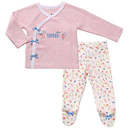 asher and olivia® Preemie 2-Piece Kimono Pajama Set in Pink