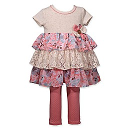 Bonnie Baby 2-Piece Tiered Toddler Top and Legging Set in Coral