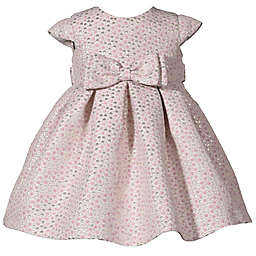 Bonnie Baby 2-Piece Cap Sleeve Jacquard Dress and Panty Set in Pink