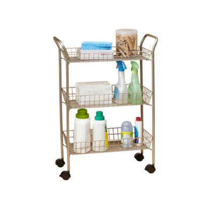 3 Tier Rolling Bath Cart With Locking Wheels In Matte