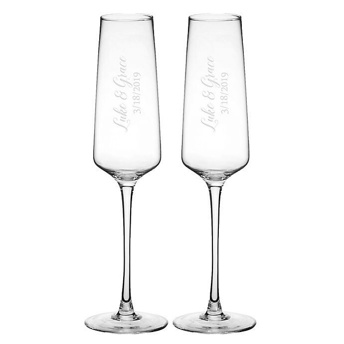 Alternate image 1 for Cathy's Concepts Mr. & Mr. Wedding Estate Champagne Glasses (Set of 2)
