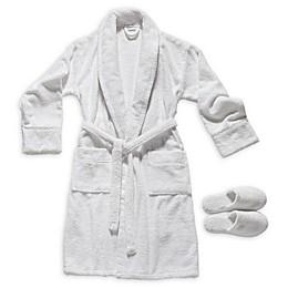 Valeron Turkish Cotton Bathrobe and Slipper Set in White