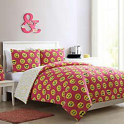 VCNY Home Facey Emoji Reversible Comforter Set
