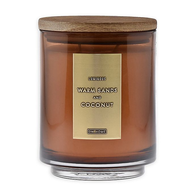Alternate image 1 for DW Home Warm Sands and Coconut 18 oz. Jar Candle with Wood Lid