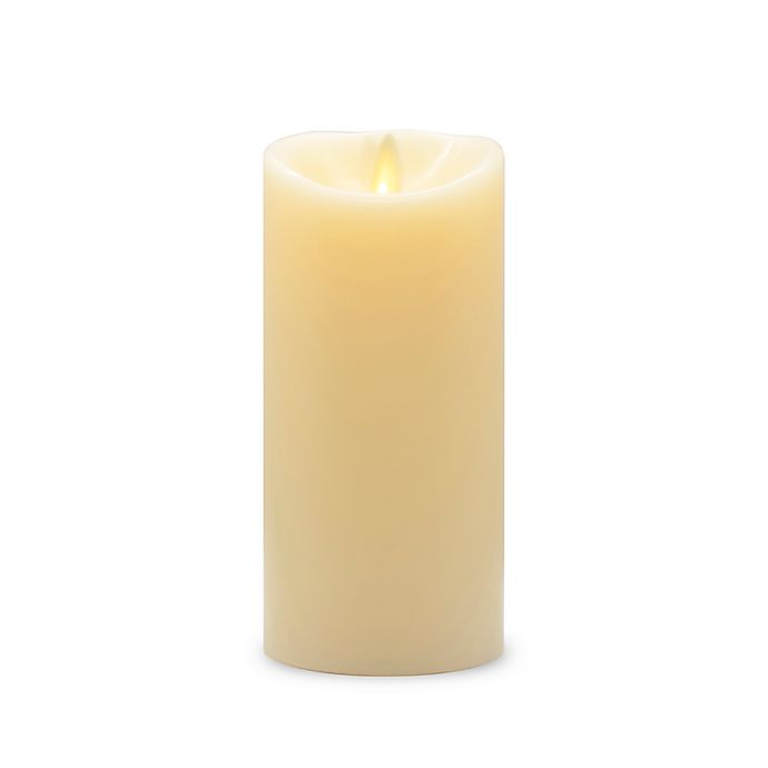 Alternate image 1 for Luminara® Real-Flame Effect 6.5-Inch Vanilla Pillar Candle in Ivory