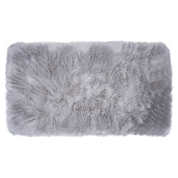Alternate image 1 for Home Dynamix Faux Fur 2-Foot 6-Inch x 3-Foot 11-Inch Accent Rug in Grey