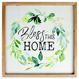 """Bless This Home"" 22.25-Inch Square Framed Wall Art"