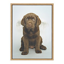 """Uniek """"Angel Pup"""" 18-Inch x 24-Inch Canvas Wall Art in Natural"""