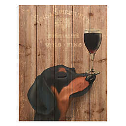 Dog Au Vin Dachshund 18 Inch X 24 Wood Wall Art