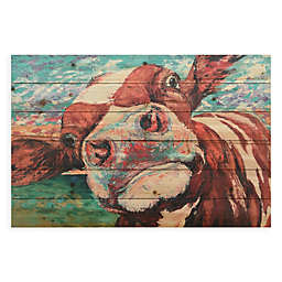 Curious Cow I 36-Inch x 24-Inch Wood Wall Art
