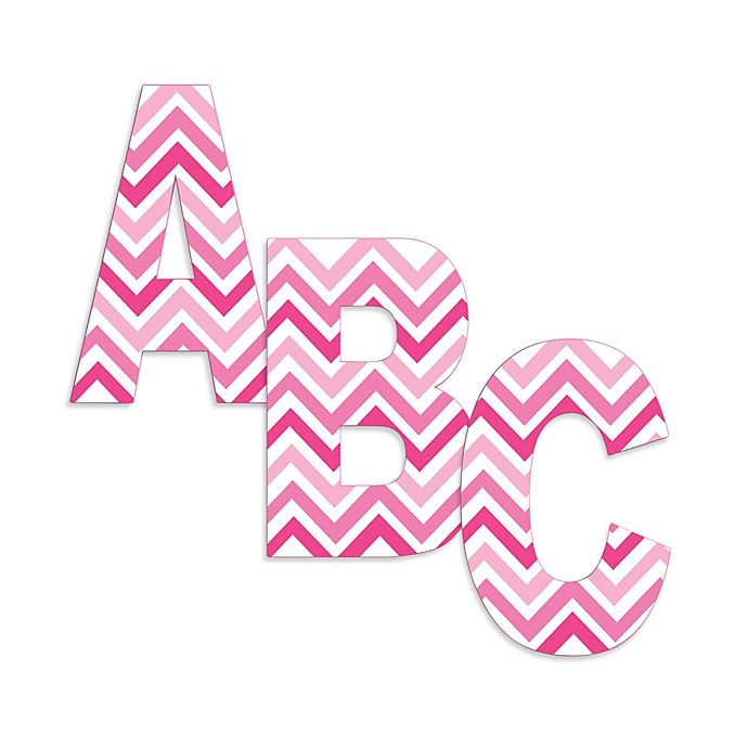 M 18 The Kids Room by Stupell Tri-Pink Chevron Hanging Wall Initial