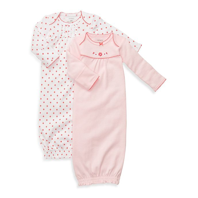 Carter\'s® Newborn Sleeper Gowns in Pink and Coral (2-Pack)   buybuy BABY