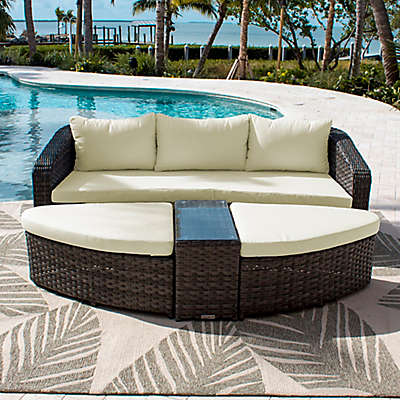Athens 4-Piece Outdoor Daybed Set with Sunbrella® Fabric Cushions