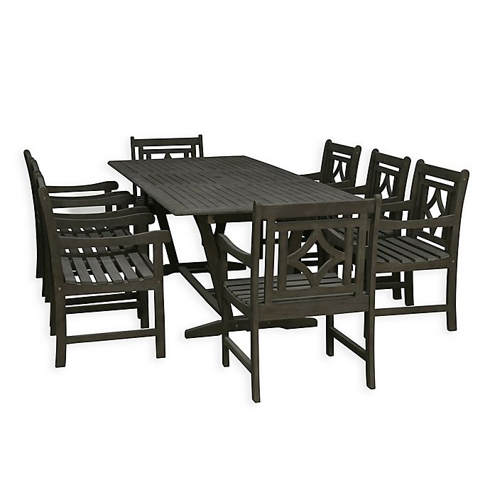 Vifah Renaissance 9 Piece Outdoor Extendable Dining Set In Vista Grey Bed Bath Beyond