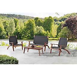 Destin 4-Piece Outdoor Set with Bench in Brown