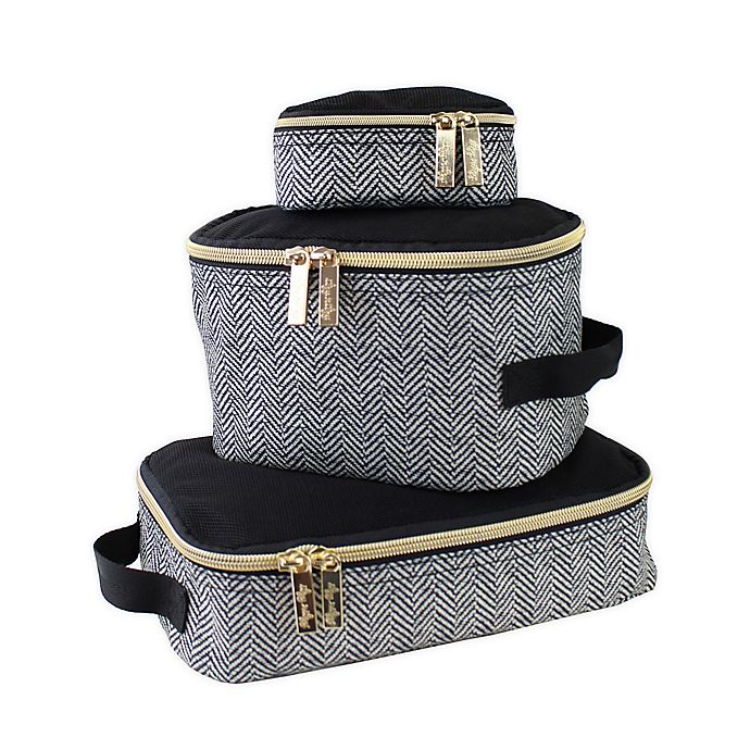 Alternate image 1 for Itzy Ritzy® 3-Piece Pack Like A Boss Packing Cubes in Coffee/Cream