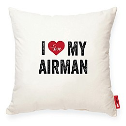 """Posh365® """"I Heart My Airman"""" Square Throw Pillow in Beige"""