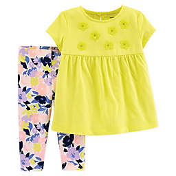carter's® 2-Piece Floral Shirt and Legging Set in Yellow