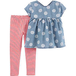 carter's® 2-Piece Polka Dot Chambray Shirt and Legging Set in Blue/Pink