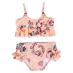 Jessica Simpson 2-Piece Ruffled Toddler Swimsuit in Peach