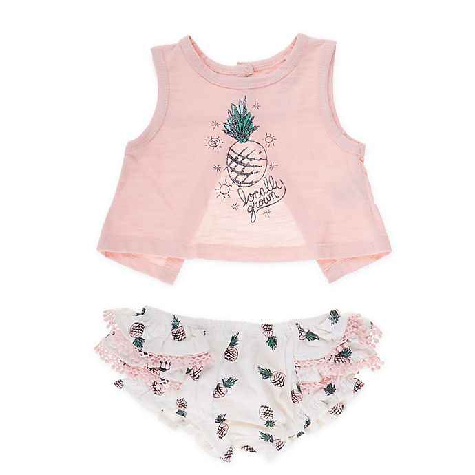 Alternate image 1 for Jessica Simpson 2-Piece Locally Grown Tank and Bloomer Set in Pink