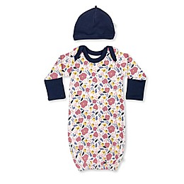 Finn + Emma® 2-Piece Floral Organic Cotton Gown and Hat Set in Pink