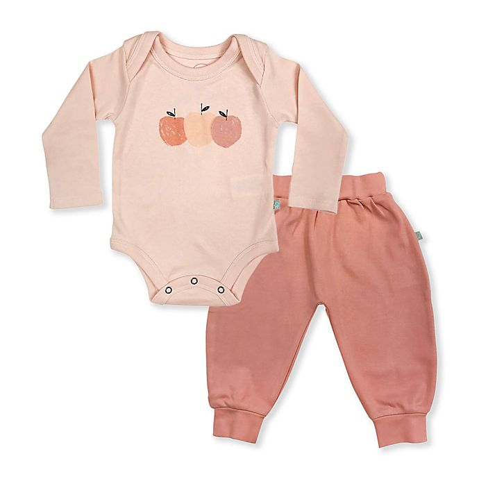 Alternate image 1 for Finn by Finn + Emma® 2-Piece Peaches Organic Cotton Bodysuit and Pant Set