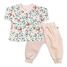 Finn by Finn & Emma® 2-Piece Organic Cotton Floral Kimono Top and Pant Set in White