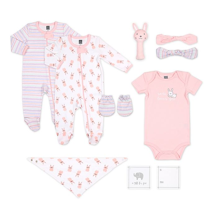 Alternate image 1 for The Peanut Shell® Size 0-3M 10-Piece Bunny Layette Set