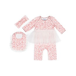Nicole Miller New York 3-Piece Floral Tutu Coverall, Bib, and Headband Set in Coral