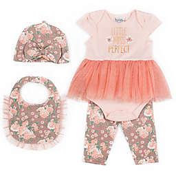 Nicole Miller New York 4-Piece Miss Perfect Bodysuit, Pant, Bib, and Cap Set in Coral