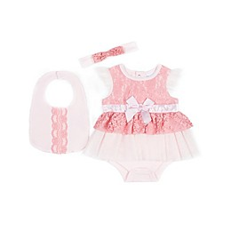 Nicole Miller New York 3-Piece Lace Bodysuit Dress, Bib, and Headband Set in Pink