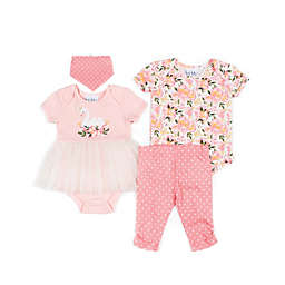 Nicole Miller 4-Piece Swan Layette Set in Coral