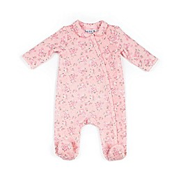 Nicole Miller NY Quilted Floral Footie in Pink