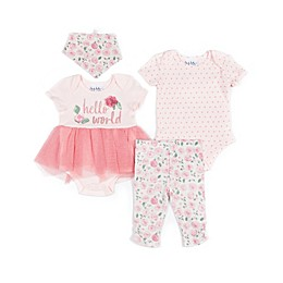 Nicole Miller NY 4-Piece Hello World Tutu Creeper, Bodysuit, Pant and Bib Set